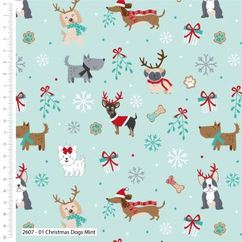 CHRISTMAS COTTON BY THE COTTON CRAFT CO'.  DOGS ON MINT.