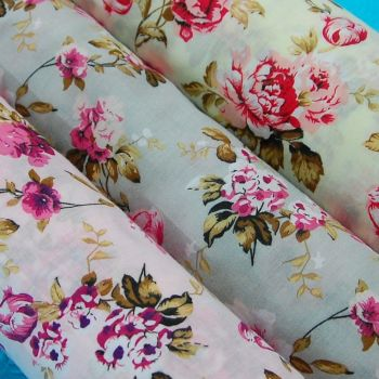 COTTON MIX, VINTAGE ROSE FLORAL, 3 COLOUR WAYS TO CHOOSE FROM.