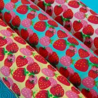 STRAWBERRY PRINTS ON A COTTON MIX. 3 COLOUR WAYS TO CHOOSE FROM.