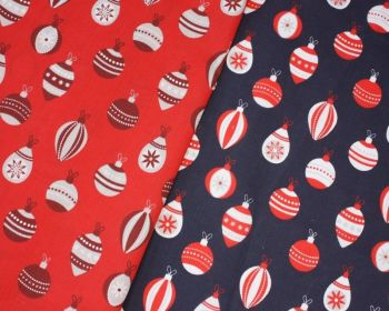 COTTON MIX, CHRISTMAS BAUBLES IN A CHOICE OF RED OR BLUE
