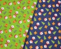 COTTON MIX, FATHER CHRISTMAS/REINDEER/TREE ON A LIME OR BLUE BACK