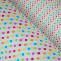 COTTON MIX, MULTI COLOUR DOTS ON A WHITE BACKGROUND.