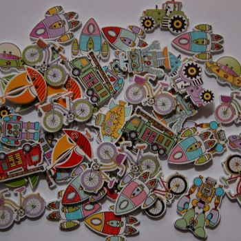 MIXED SELECTION OF 50 TRANSPORT, SPACE, ROBOT EMBELLISHMENTS.
