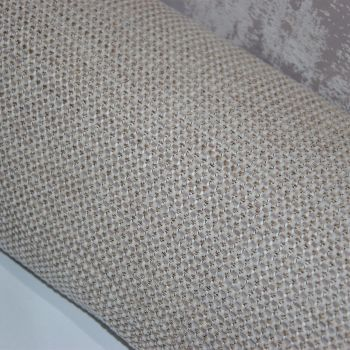 UPHOLSTERY FABRIC ,  PALE OATMEAL CHENILLE SOLD BY THE METRE.