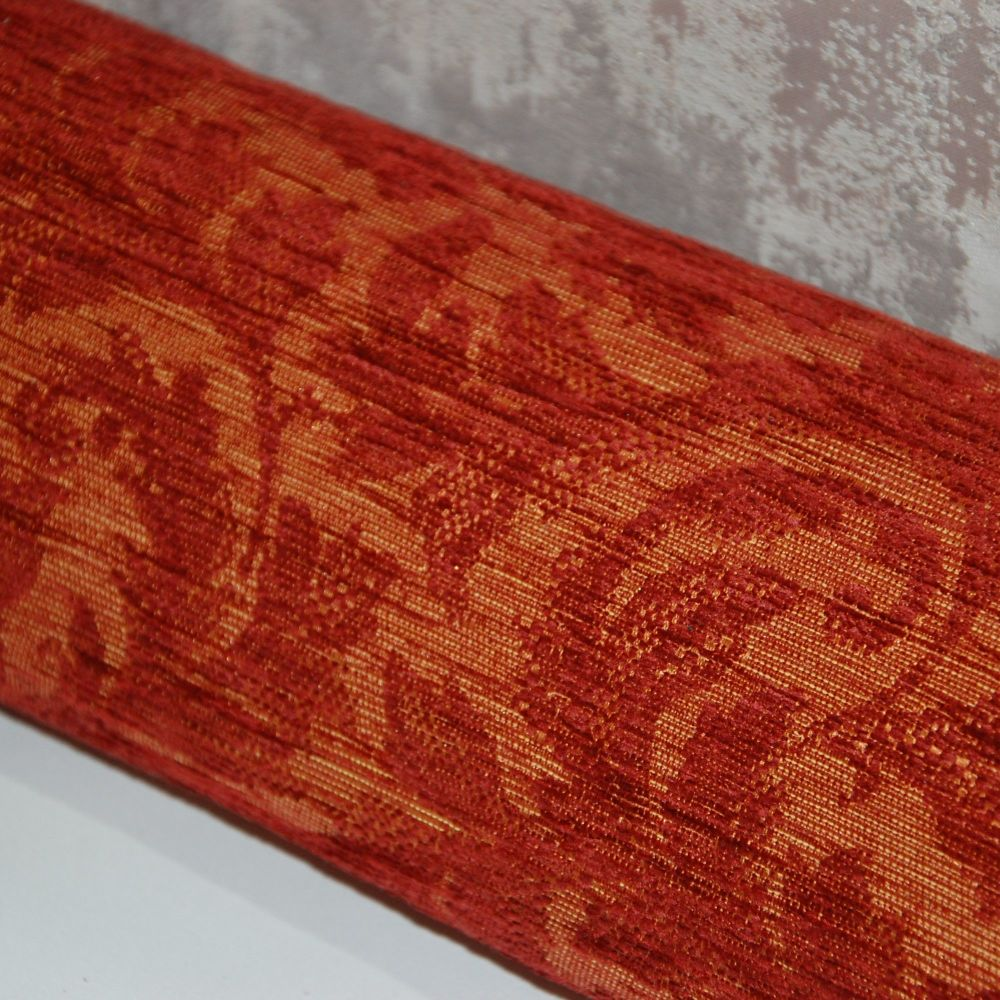 UPHOLSTERY FABRIC ,  TRAD DESIGN IN DEEP BURGUNDY RED AND BURNISHED GOLD SO
