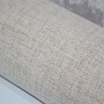 UPHOLSTERY FABRIC , PALE OFF WHITE NEUTRAL CHENILLE SOLD BY THE METRE.