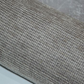 UPHOLSTERY FABRIC CHENILLE MID GREYS AND TAUPES, SOLD AS A 2.5 METRE PIECE.