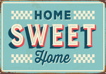 VINTAGE HOME SWEET HOME METAL SIGN 20CM'S X 29CM'S