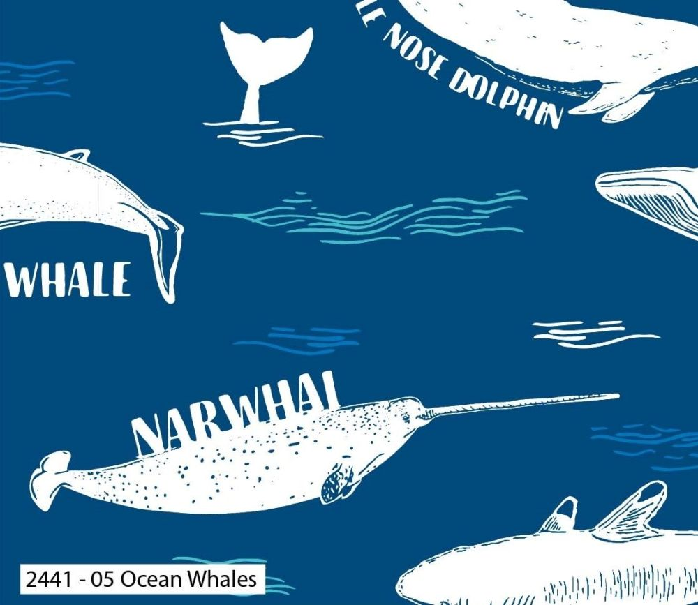 EXPLORE OCEAN WHALES, 100% COTTON BY THE NATURAL HISTORY MUSEUM.  SPECIAL O