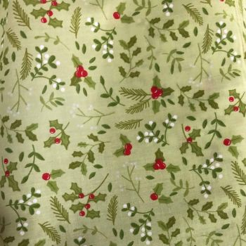 COTTON MIX, CHRISTMAS HOLLY ON A PALE GREEN BACK.