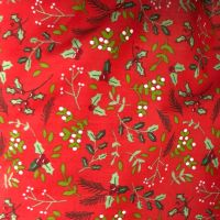 COTTON MIX, CHRISTMAS HOLLY ON A RED BACK.