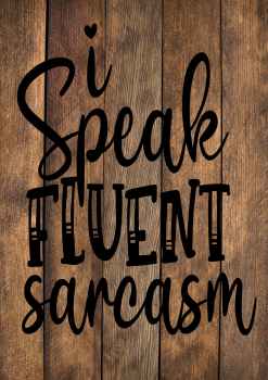 I SPEAK FLUENT SARCASM WOOD EFFECT METAL SIGN 29CM'S X 20CM'S