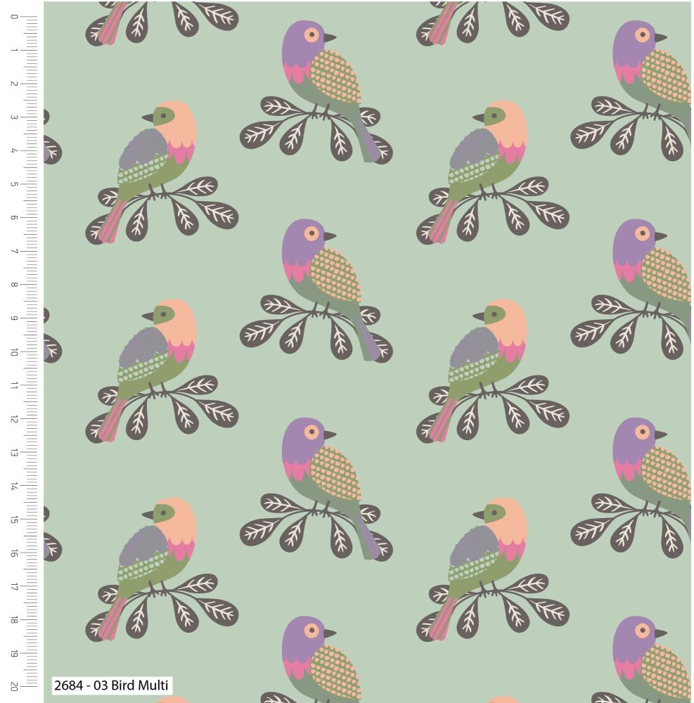 LITTLE MEADOW BIRDS MULTI, 100% COTTON.