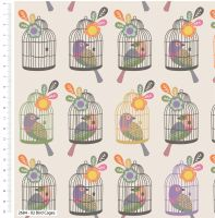 LITTLE MEADOW BIRDS RANGE 'BIRD CAGE', 100% COTTON. 2.8 METRE PIECE.