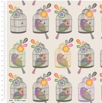 LITTLE MEADOW BIRDS RANGE 'BIRD CAGE', 100% COTTON.