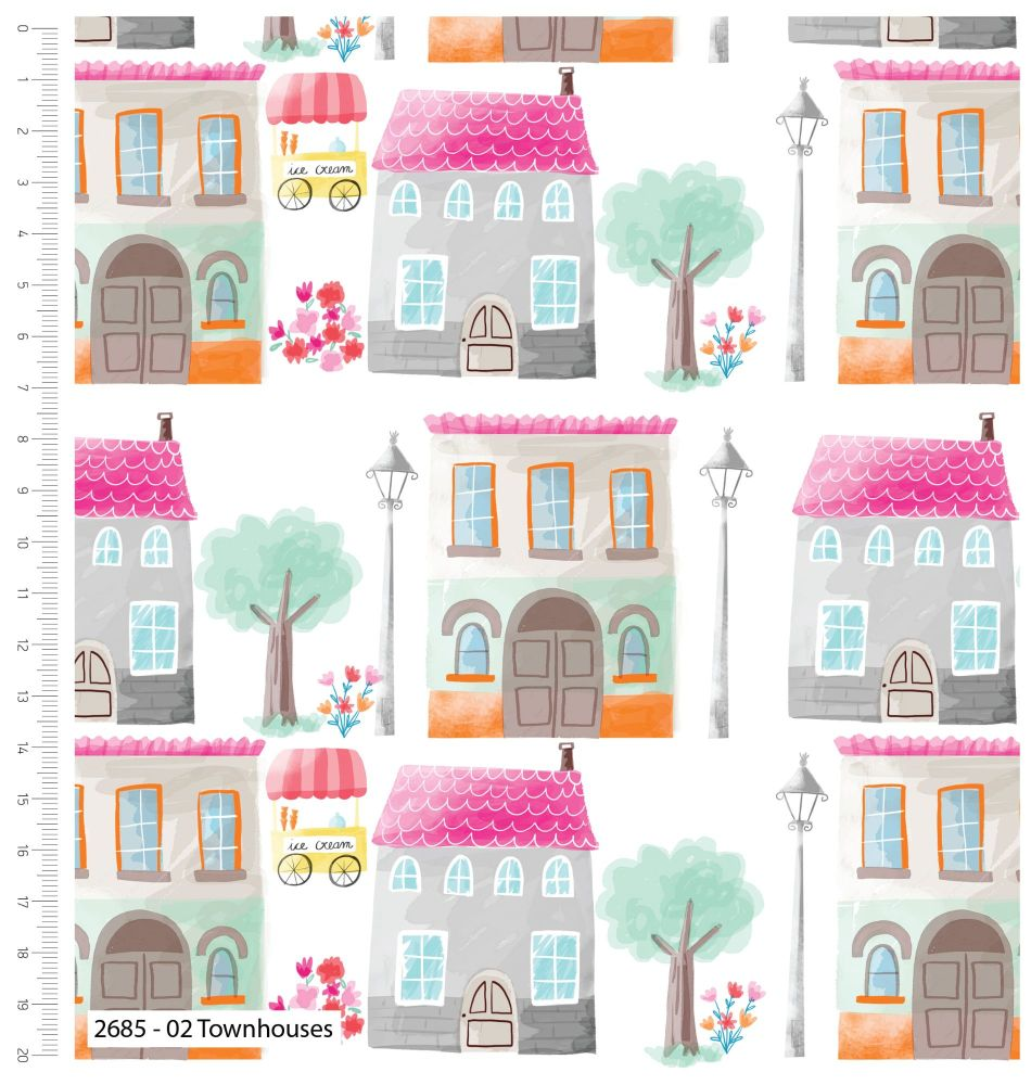 GIRLS DAY OUT RANGE 'TOWN HOUSES', 100% COTTON.