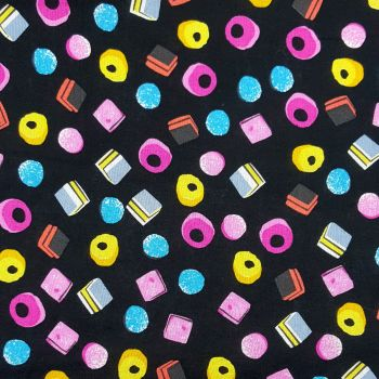 LIQUORICE ALLSORTS ON BLACK, 100% COTTON.