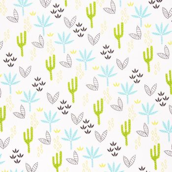 DINO PALMS AND CACTUS ON WHITE, 100% COTTON.