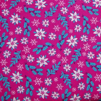 MAGICAL CHRISTMAS FLORAL, 100% COTTON.