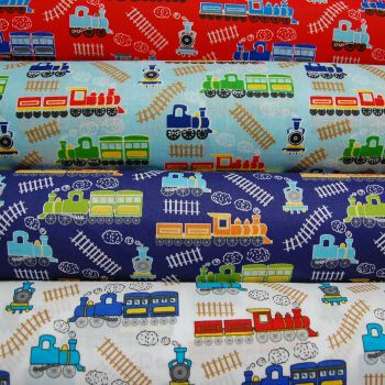COTTON MIX, TRAIN PRINT IN 4 COLOURWAYS.