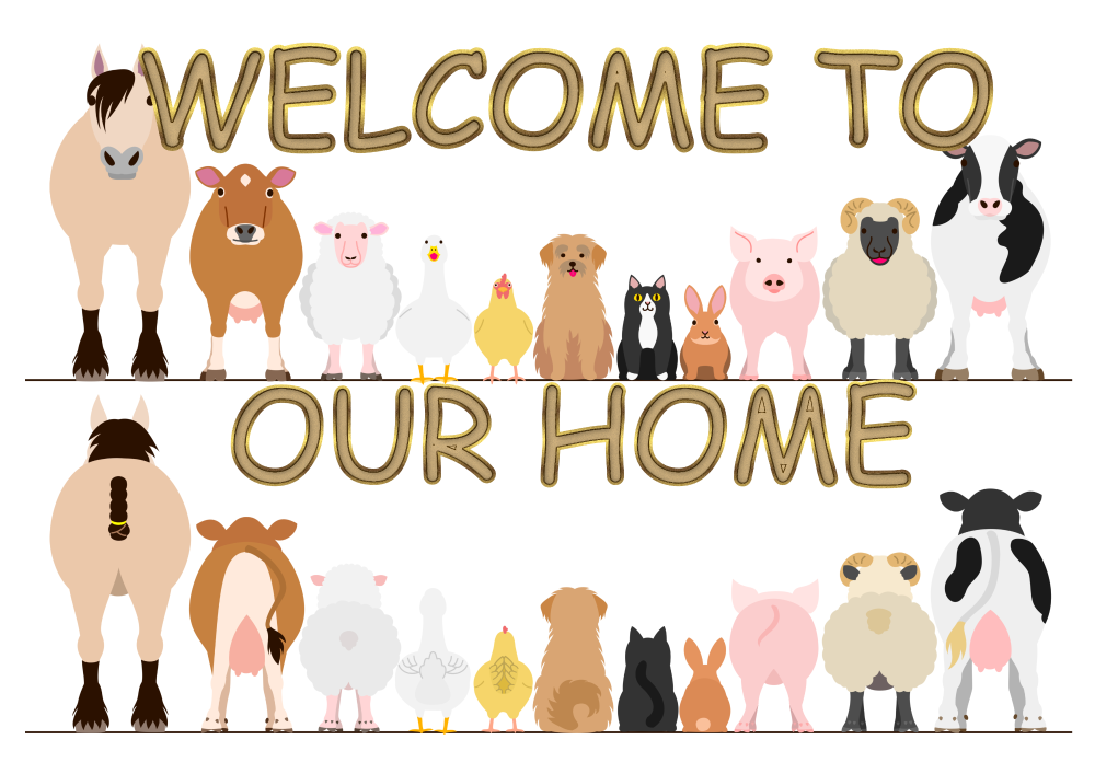 WELCOME TO OUR HOME, ROW OF ANIMALS METAL SIGN 20CM'S X 29CM'S