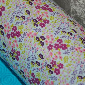COTTON MIX, DITZY FLORAL IN PINKS AND LILAC PURPLES.