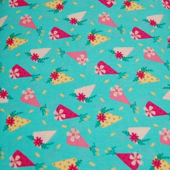 FLORAL BIRTHDAY CAKE SLICE BY THE CRAFT COTTON CO', 100% COTTON.
