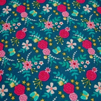 BIRTHDAY FLORAL NAVY FLOWER BY THE CRAFT COTTON CO', 100% COTTON.