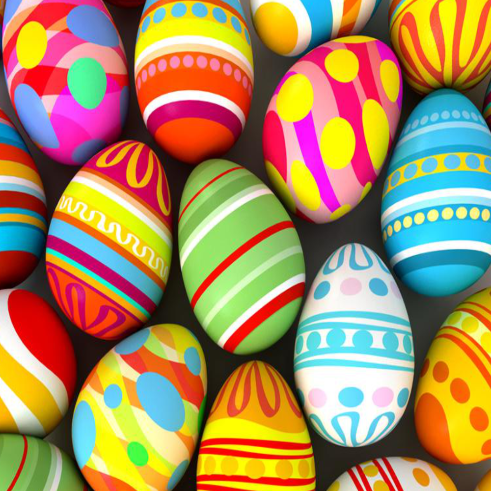 8 INCH COTTON SQUARE,  PAINTED EASTER EGGS, OPTION 1