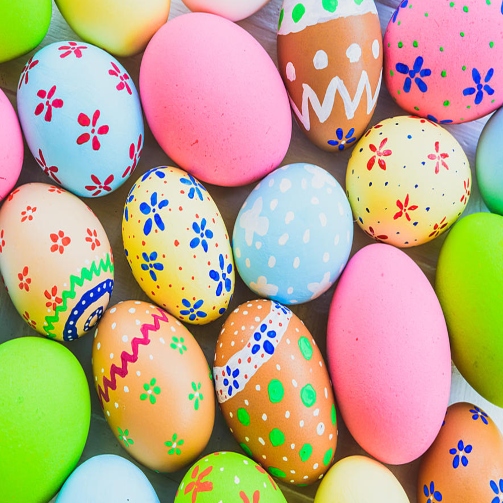 8 INCH COTTON SQUARE,  PAINTED EASTER EGGS, OPTION 2