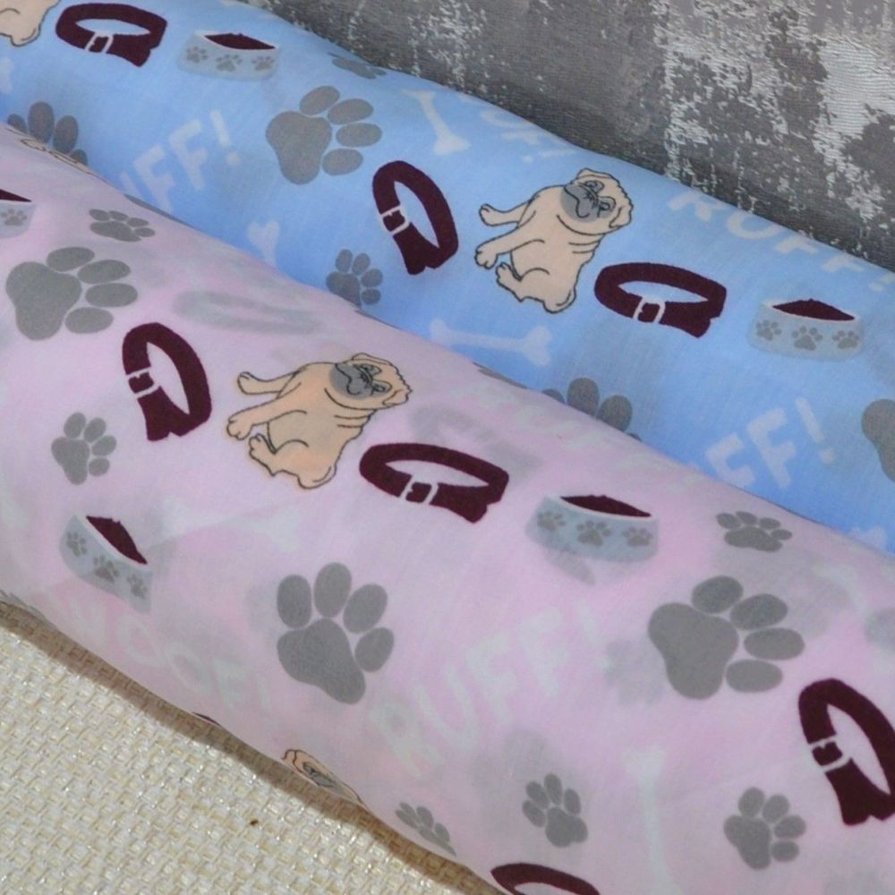 POLY COTTON MIX, WOOF DOG PRINT IN PALE PINK OR BLUE