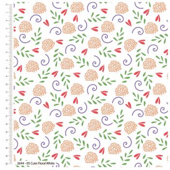 CUTE FLORAL WHITE FROM THE CRAFT COTTON COMPANY, 100% COTTON.