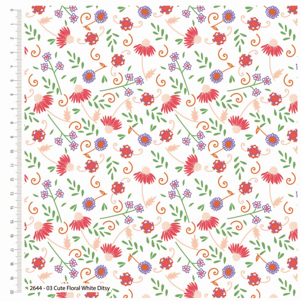 CUTE FLORAL DITZY FROM THE CRAFT COTTON COMPANY, 100% COTTON.
