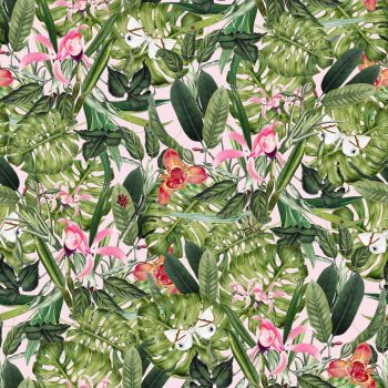 IN THE JUNGLE 'FAUNA WITH BUTTERFLIES', FROM THE FABRIC PALETTE 100% DIGITAL PRINTED COTTON.