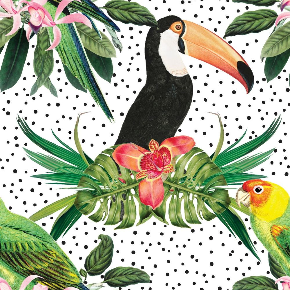 IN THE JUNGLE 'TROPICAL BIRDS', FROM THE FABRIC PALETTE 100% DIGITAL PRINTE