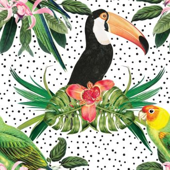 IN THE JUNGLE 'TROPICAL BIRDS', FROM THE FABRIC PALETTE 100% DIGITAL PRINTED COTTON.