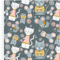 CATS AND MICE FROM THE CRAFT COTTON COMPANY, 100% COTTON.