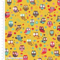 FLYING OWLS ON MUSTARD FROM THE CRAFT COTTON COMPANY, 100% COTTON.