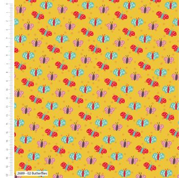 BUTTERFLIES ON MUSTARD FROM THE CRAFT COTTON COMPANY, 100% COTTON.