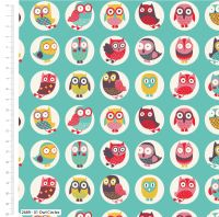 OWL CIRCLES ON AQUA FROM THE CRAFT COTTON COMPANY, 100% COTTON.