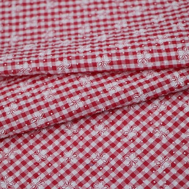 1/4 INCH RED AND WHITE GINGHAM WITH EMBROIDERED FLOWER DETAILING