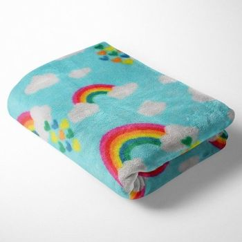 RAINBOW ON AQUA SUPER SOFT CUDDLE FLEECE, 58 INCH WIDE.