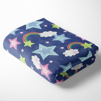 RAINBOW ON BLUE SUPER SOFT CUDDLE FLEECE, 58 INCH WIDE.