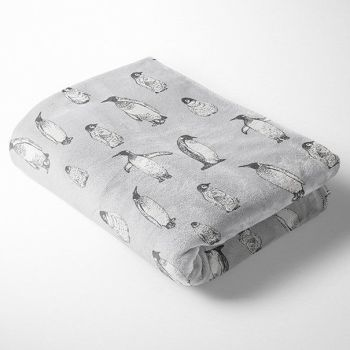 PENGUINS ON PALE GREY SUPER SOFT CUDDLE FLEECE, 58 INCH WIDE.