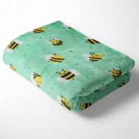 BEES ON MINT SUPER SOFT CUDDLE FLEECE, 58 INCH WIDE.