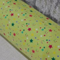 SUPER SOFT BRUSHED COTTON IN LIME GREEN WITH STARS, 100% COTTON.