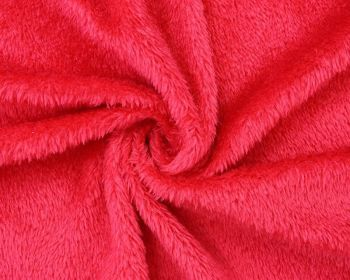 RED CUDDLE FUR, FAUX LAMBSWOOL, 61 INCH WIDE.