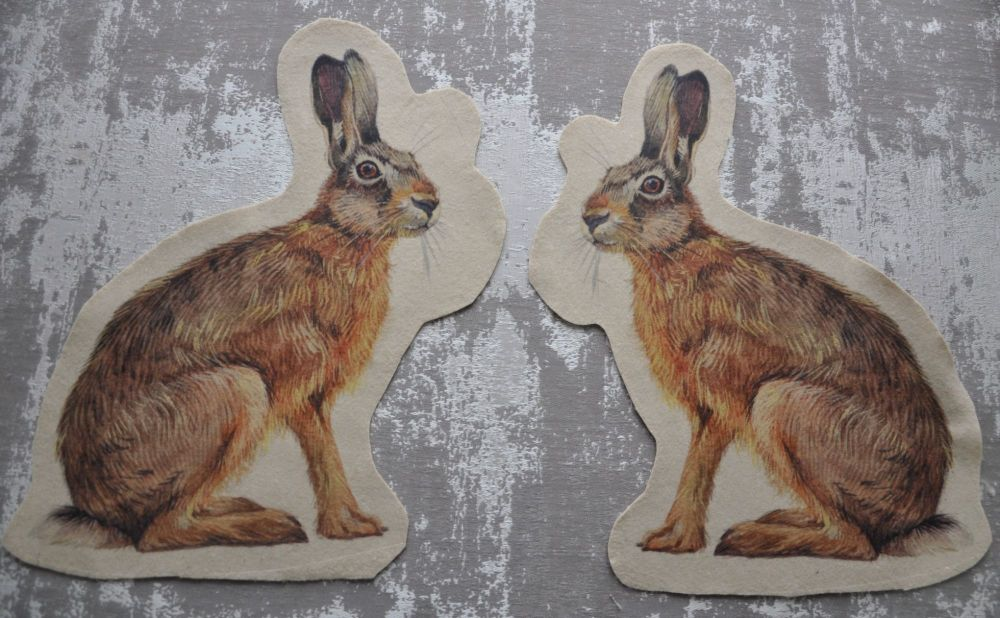 PAIR OF FELT HARES, SEW ON. 11 INCH X 8 INCH EACH.