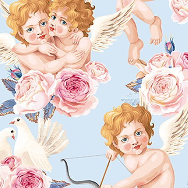 LITTLE JOHNNY CUPIDS, DIGITALLY PRINTED 100% COTTON.