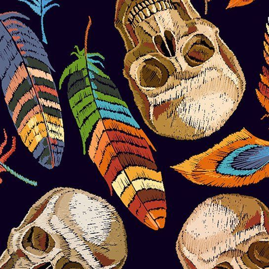 LITTLE JOHNNY SKULLS AND FEATHERS, DIGITALLY PRINTED 100% COTTON.